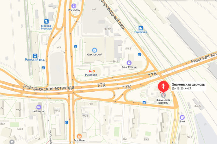 Храм Знамения на Рижской на карте