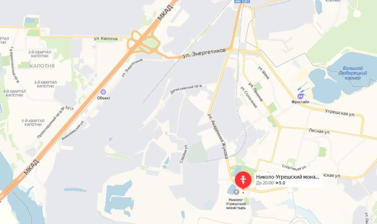 Николо Угрешский монастырь на карте