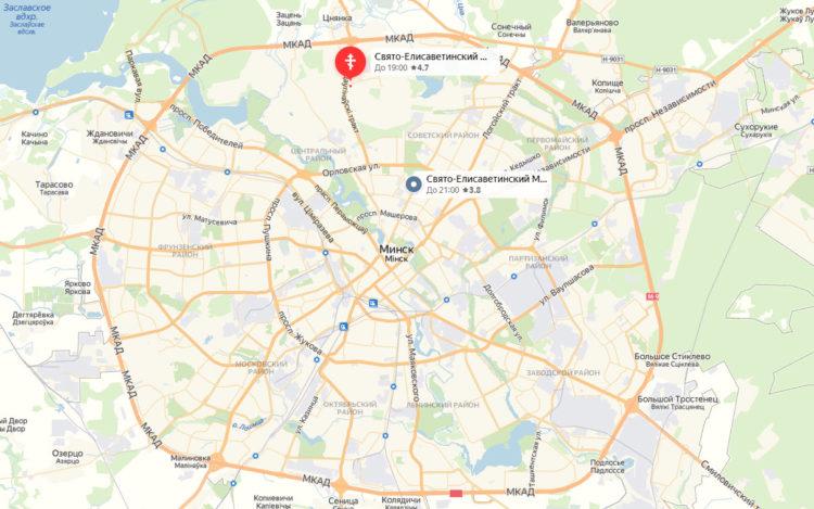 Свято-Елисаветинский монастырь в Минске карта