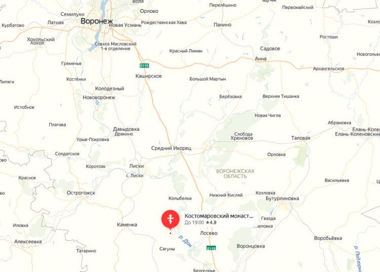 Костомаровский Спасский монастырь на карте Воронежской области