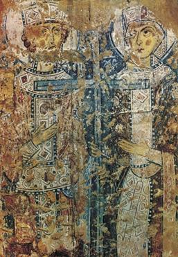 Фреска «Святые Константин и Елена», Софийский собор в Новгороде. 11 в.